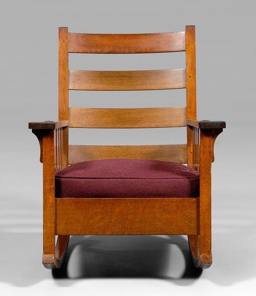 8: Gustav Stickley rocking chair,