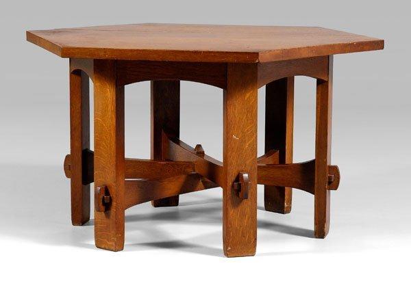 10: Stickley Craftsman oak table,