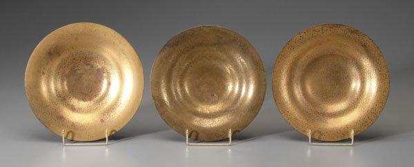 17: Three bronze dore Tiffany bowls: