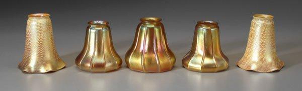 19: Five art glass shades: