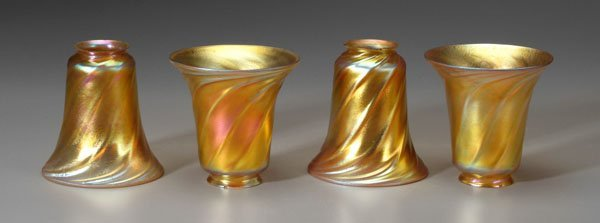 20: Set of four art glass shades: