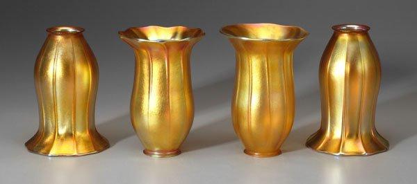 21: Set of four Quezel art glass shades: