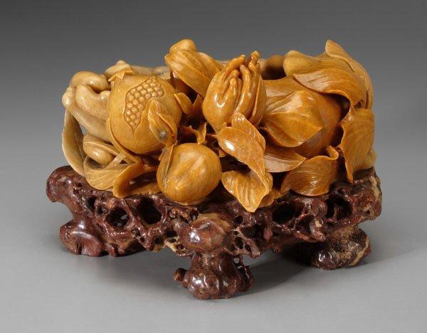 350: Chinese carved stone brush washer,