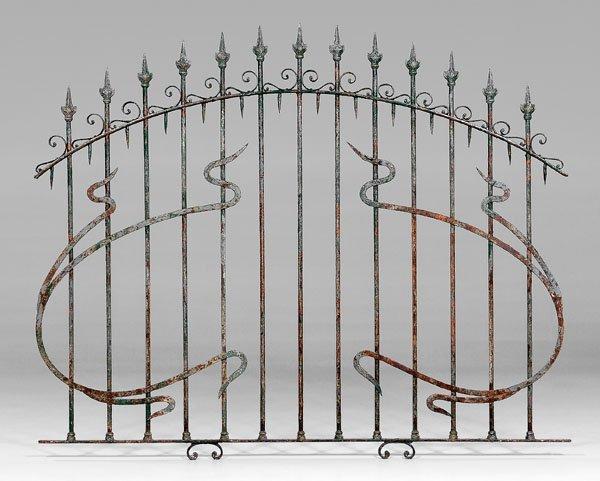 587: Art Nouveau painted wrought iron gate,
