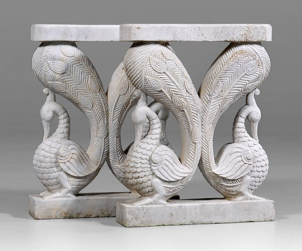 589: Pair carved marble table supports: