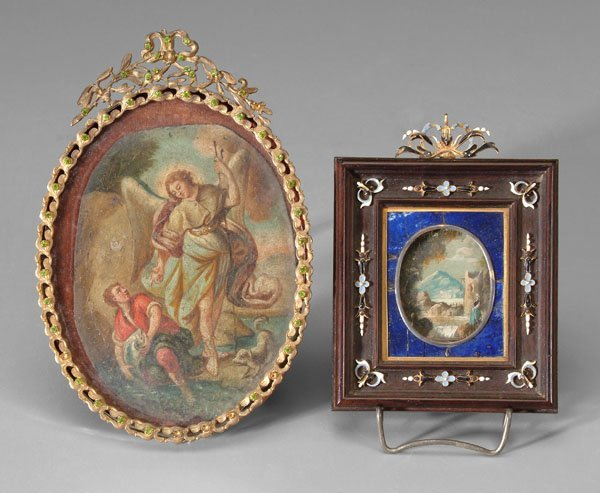 591: Two Italian miniature paintings:
