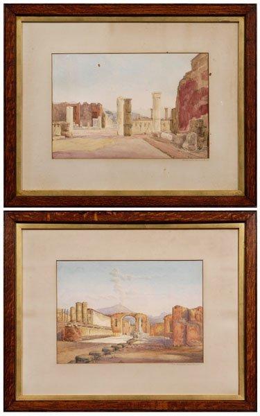 599: Pair Italian School watercolors,