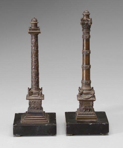 603: Two bronze columns,