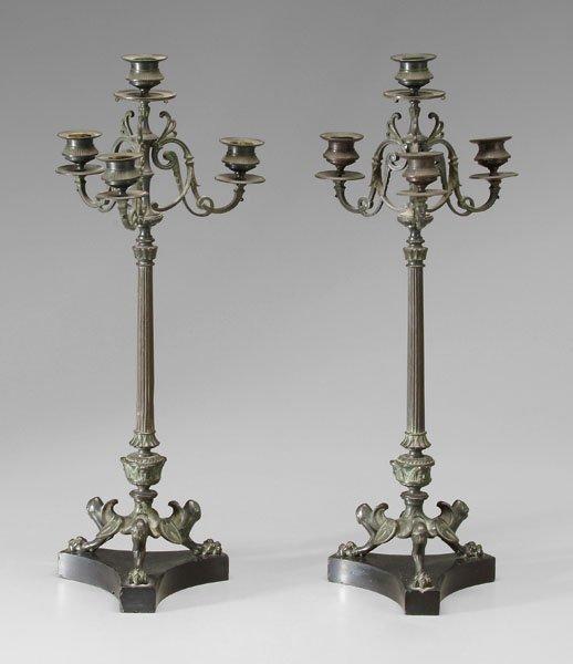 604: Pair Empire style bronze candelabra: