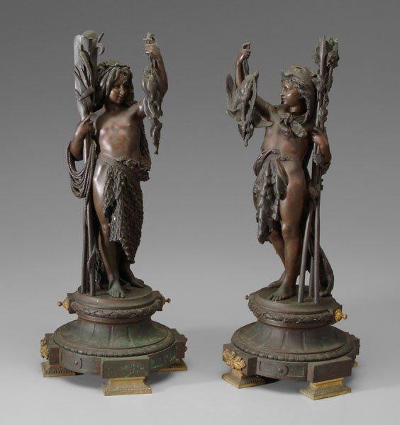 606: Pair bronzes after Carrier-Belleuse: