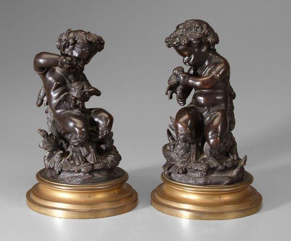 607: Pair figural bronzes,