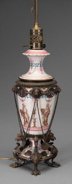 608: Fine bronze mounted lamp,
