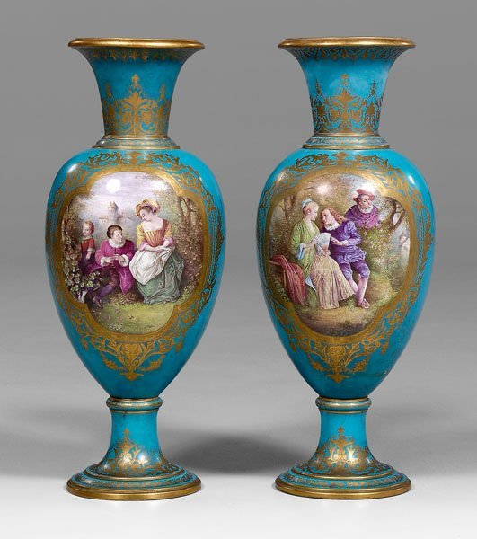 732: Pair monumental Sèvres vases:
