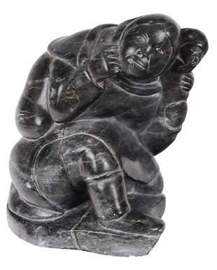 Large Inuit Carved Soapstone Sculpture