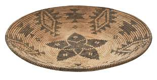 Apache Polychrome Decorated Coiled Basket Tray