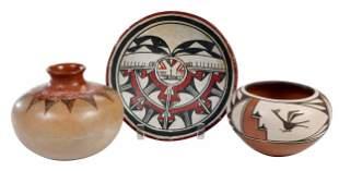 Three Pieces Polychrome Pueblo Pottery