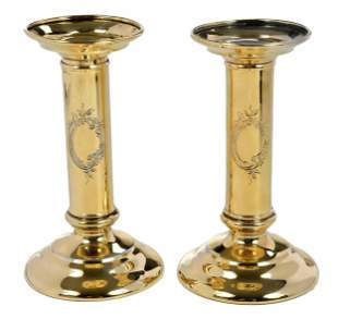 Pair of Gilt Sterling Tiffany Candlesticks