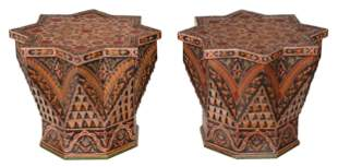 Pair Moorish Style Paint Decorated Side Tables