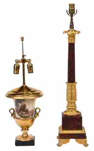 Two Continental Gilt Bronze Mounted Lamps