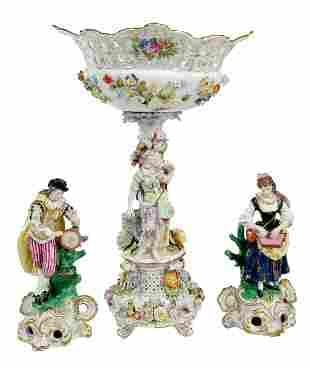 Carl Thieme Figural Porcelain Compote, Figures