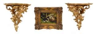 Pair of Gilt Wall Brackets, Gilt Framed Painting