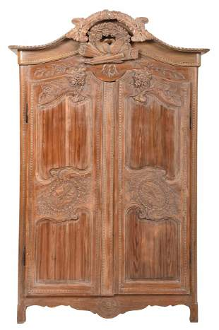 Provincial Louis XV Style Carved Pine Armoire