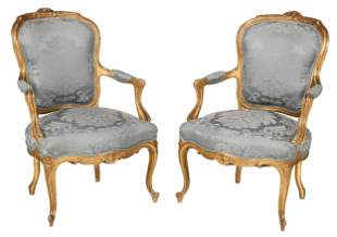 Pair Louis XV Style Carved Gilt Armchairs