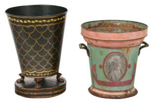 Two Paint Decorated Tole Buckets