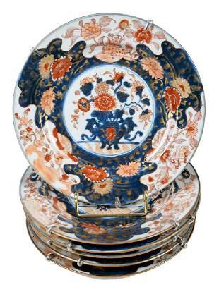 Set of Six Chinese Export Imari Porcelain Plates