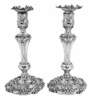 George III English Silver Candlesticks