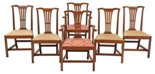 Set Six Kittinger Chippendale Style Dining Chairs