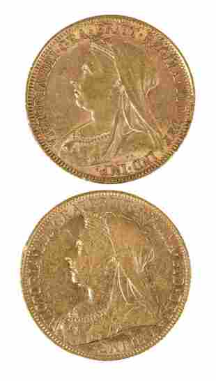 Two Old Head Victoria Gold Sovereigns