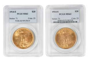 Two 1914-S St. Gaudens $20 Gold Coins