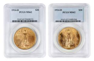Two 1914-D St. Gaudens $20 Gold Coins