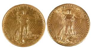 Two St. Gaudens $20 Gold Coins