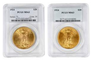 Two 1924 St. Gaudens $20 Gold Coins