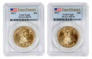 Pair of 2013 American Gold Eagles