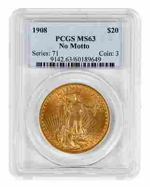 1908 No Motto St. Gaudens $20 Gold Coin
