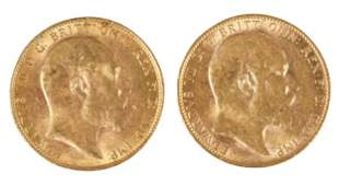 Two Edward VII Gold Sovereigns