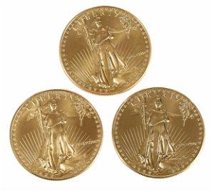 Three American Gold Eagles
