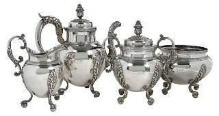 Four Piece Coin Silver John W. Forbes Tea Service