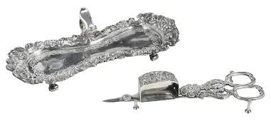 George III English Silver Candle Snuffer with Tray