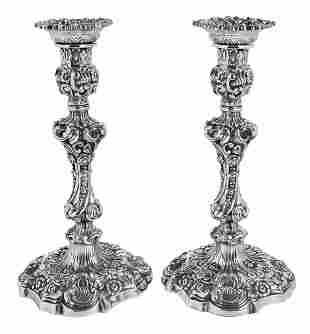 Pair George IV English Silver Candlesticks