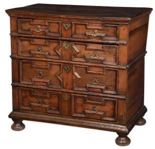 Charles II Paneled Oak Chest of Drawers
