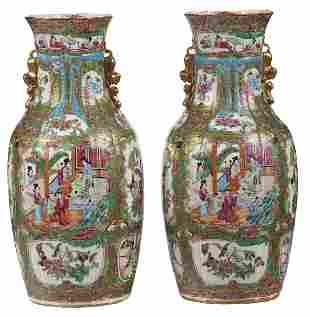Pair Large Chinese Rose Medallion Porcelain Vases