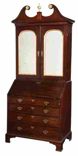 Irish Chippendale Mirrored Door Secretary