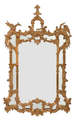 Chinese Chippendale Style Carved Giltwood Mirror