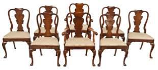 Set Eight George II Style Burlwood Dining Chairs