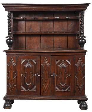 Continental Baroque Ebonized Oak Pewter Cupboard