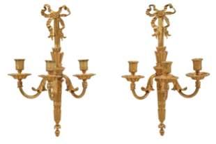 Pair Louis XVI Style Three Light Sconces